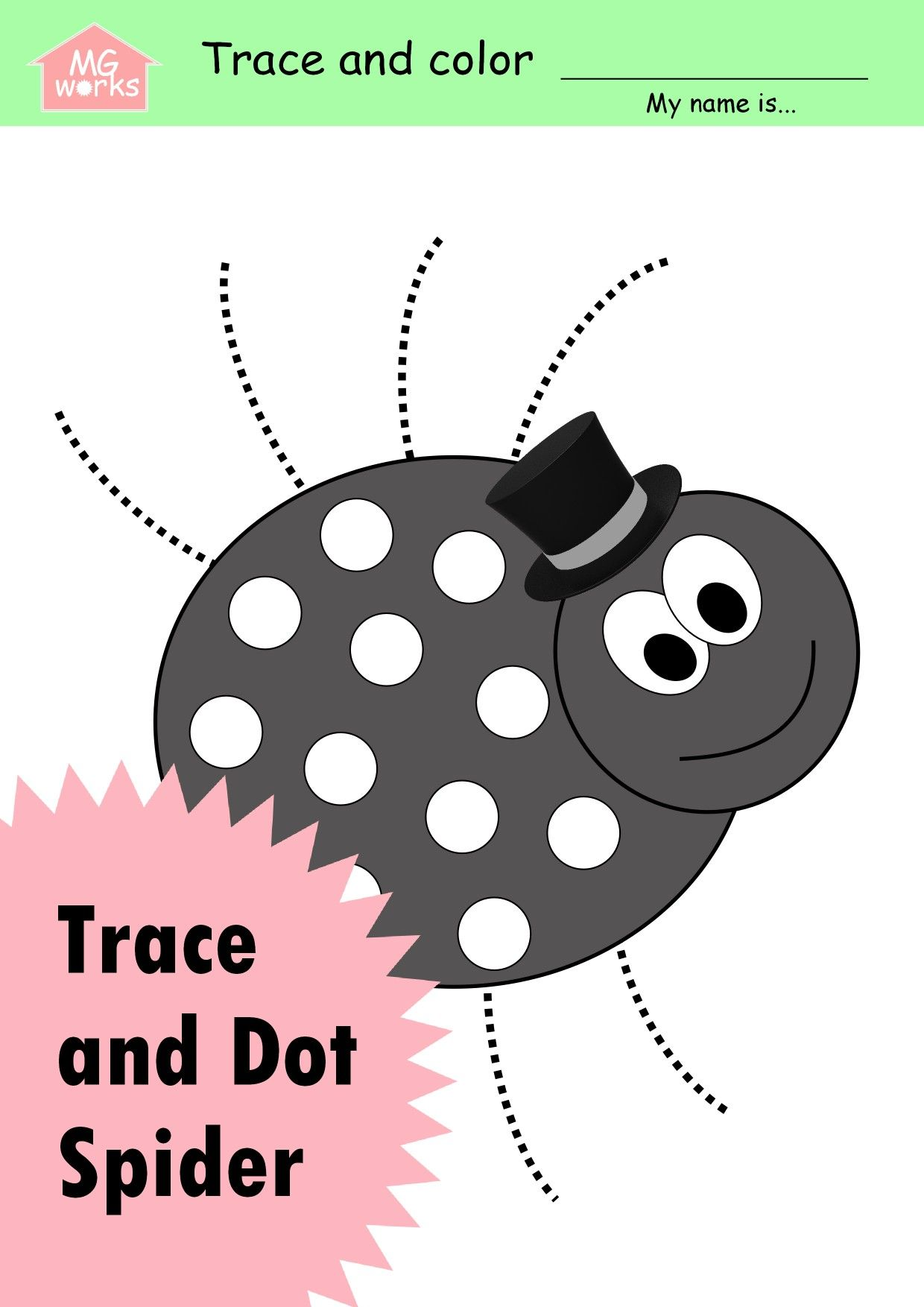 Spider Trace And Dot Worksheet In 2020 Preschool Worksheets Do A Dot Dot Worksheets [ 1754 x 1240 Pixel ]