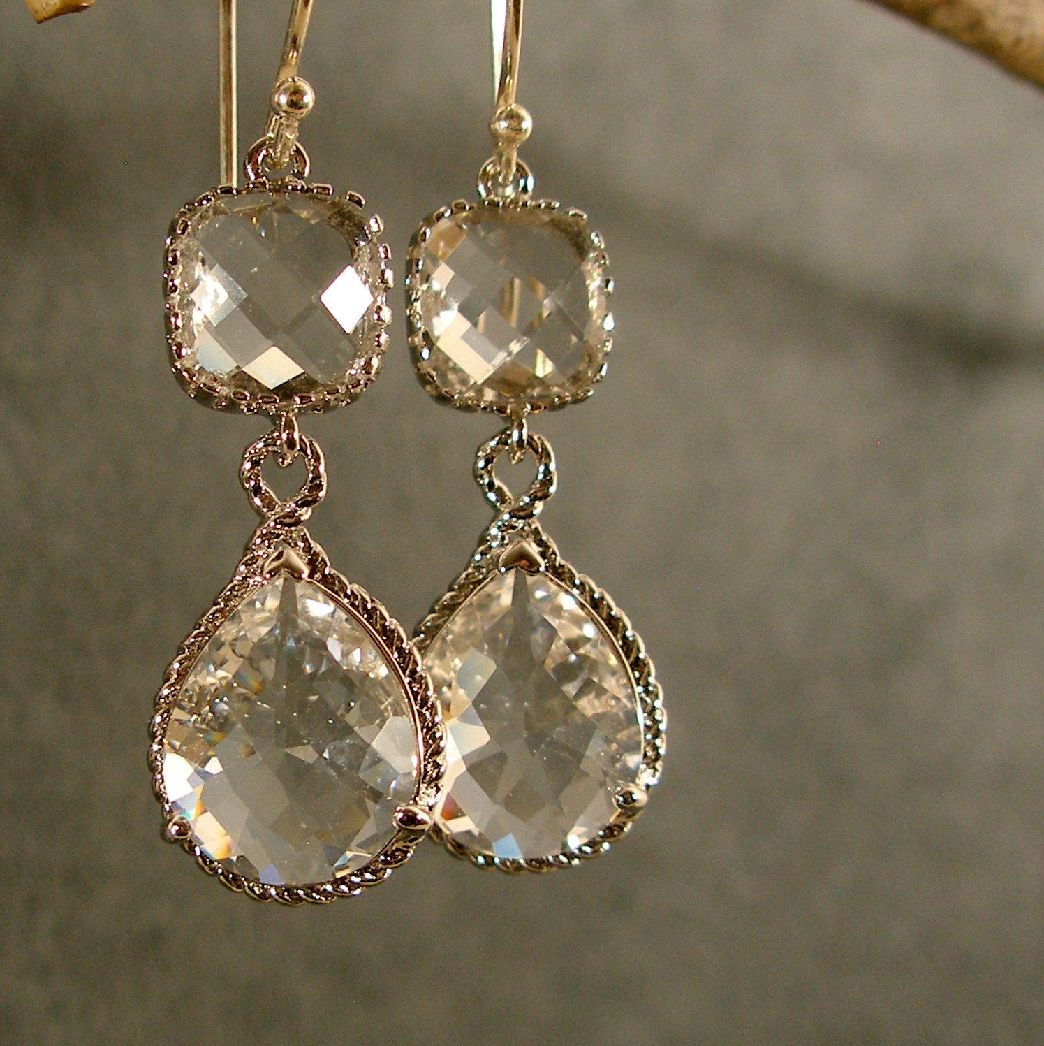 Crystal Fancy Glass Silver Earrings Bridesmaid By Ilexiadesigns, $3100