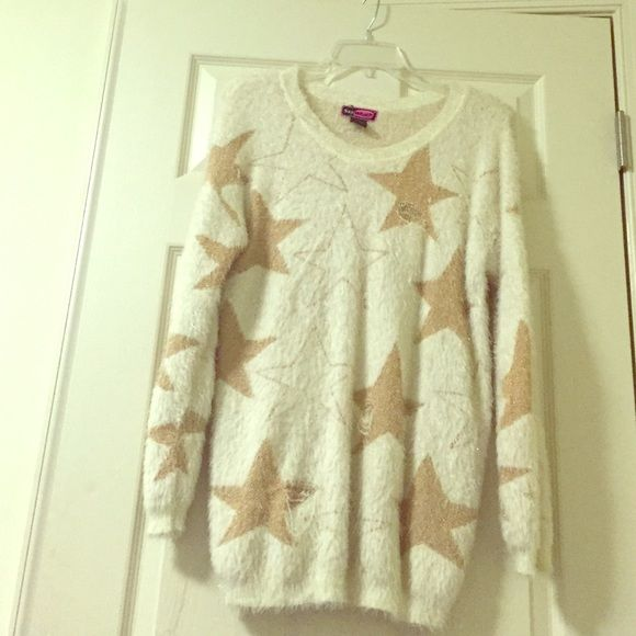 Say What? Fuzzy sweater from Macy's. Soft&large White and Gold (shimmering) Fuzzy sweater. Soft and long. Length to mid thigh. Fairly used Hand wash. Say What? Sweaters Crew & Scoop Necks