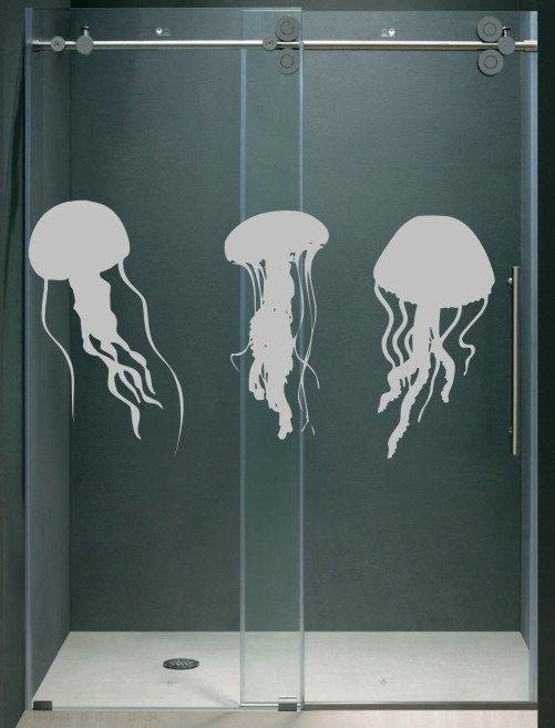 Etched Glass Look Vinyl Jellyfish Shower Door Decals Graphics Set Of Three