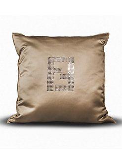 Fendi Casa Dark Khaki Swarovski Crystal Fendi Logo Pillow