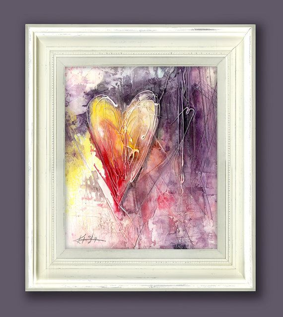 Original Abstract Heart Watercolor Painting in Shabby Chic, Cottage ...