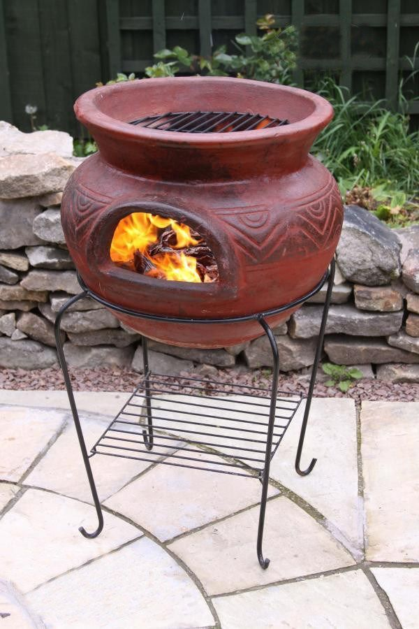 Photo of This Mexican fire bowl comes complete with stand and BBQ Grill. Not only can you…