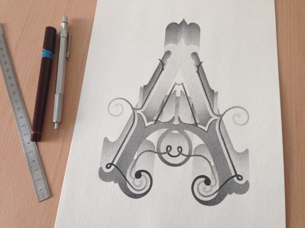 """A"" UPPERCASE - Hand lettering by Xavier Casalta, via Behance"