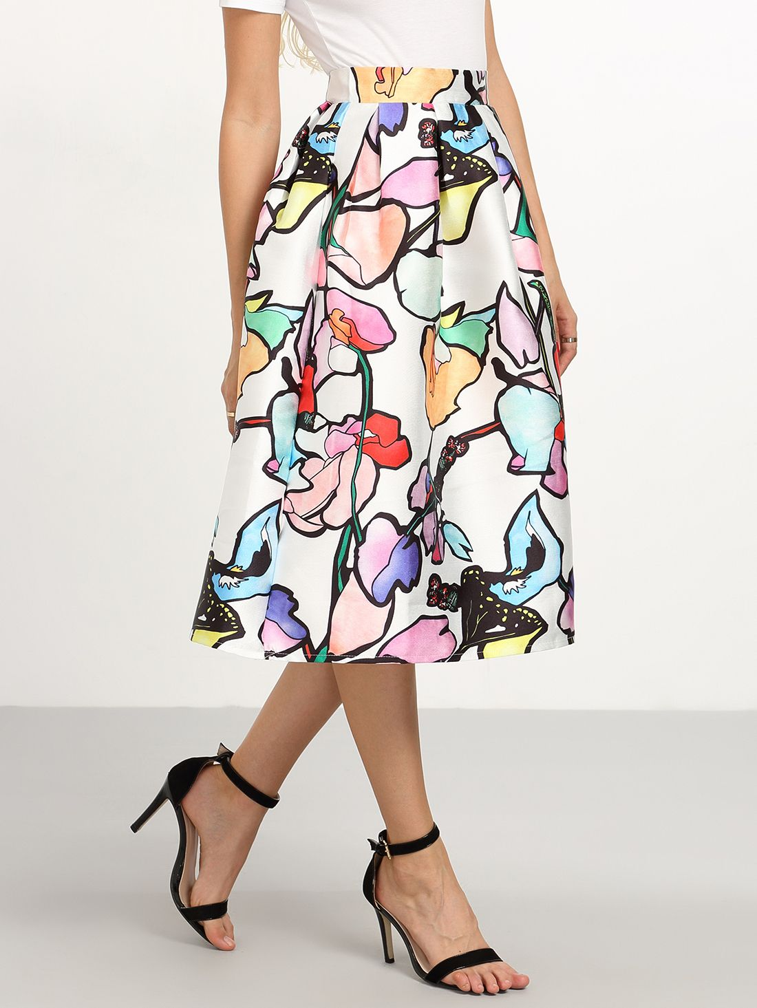 Multi color Branch Print Midi Skirt - SheIn #skirt #pretty ...