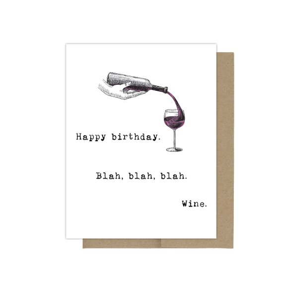 Wine Birthday Card Funny Best Friend Lover Gift Snarky Be