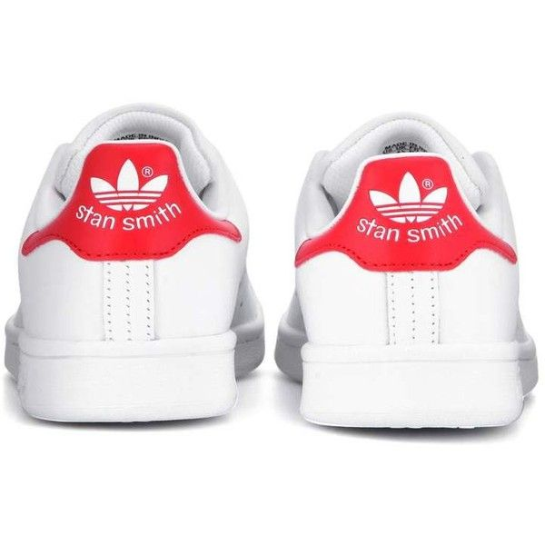 Adidas Originals Stan Smith Leather Sneakers (€93) ❤ liked on Polyvore featuring shoes, sneakers, white trainers, adidas footwear, white leather trainers, leather shoes and adidas