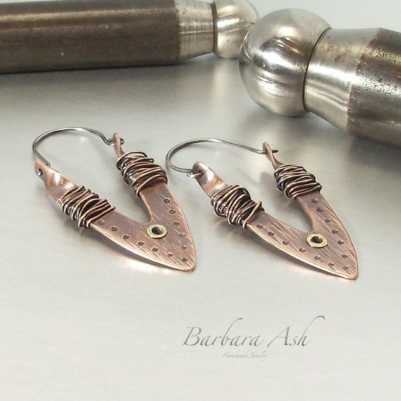 Mixed Metal Jewelry Earrings Wire Wrapped Metal by IntuitiveGlass