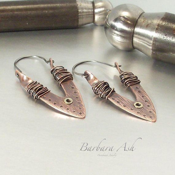 Mixed metal earrings handmade