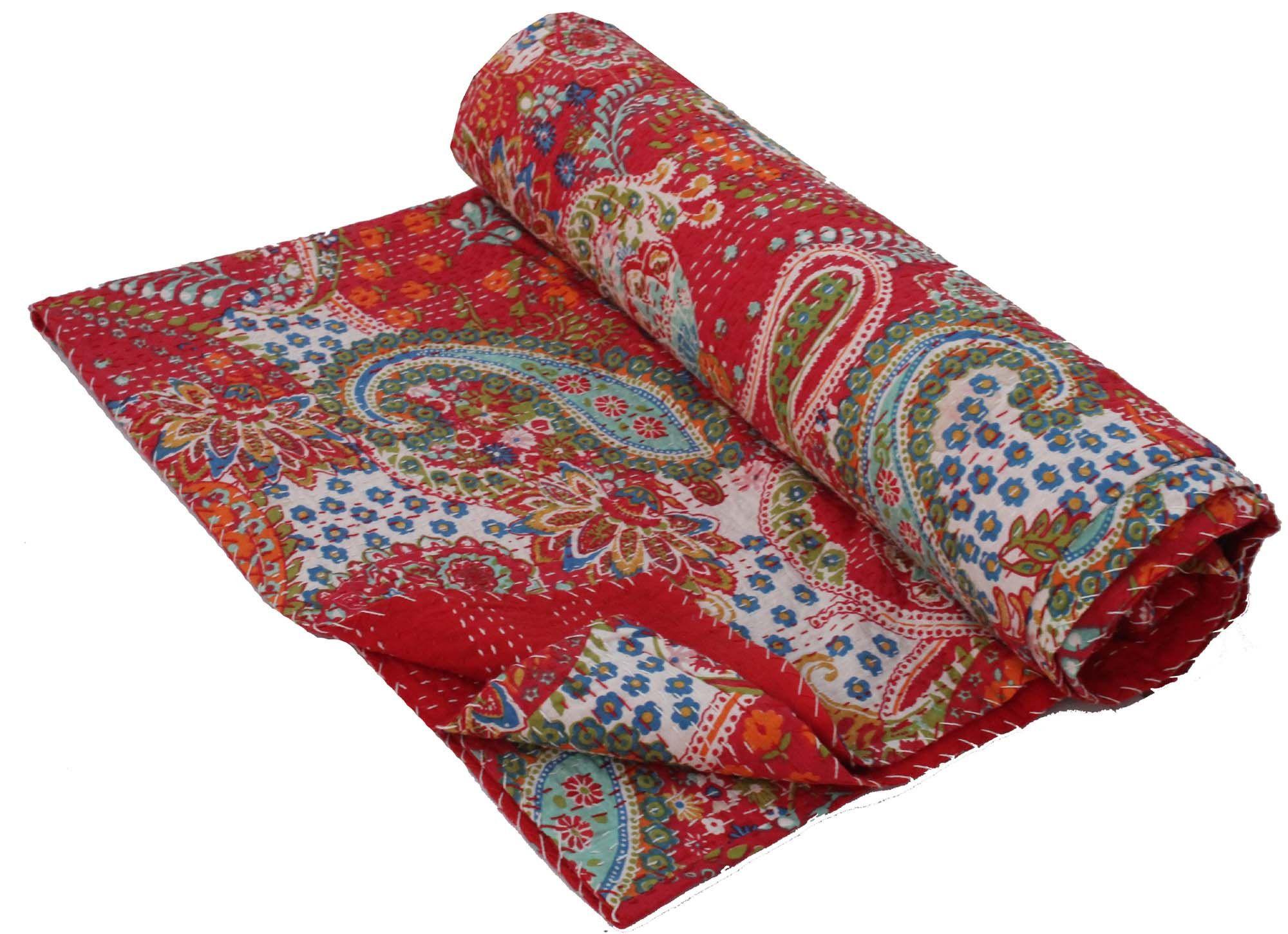 Red Queen Size Kantha Blanket Handmade Kantha Quilt Indian