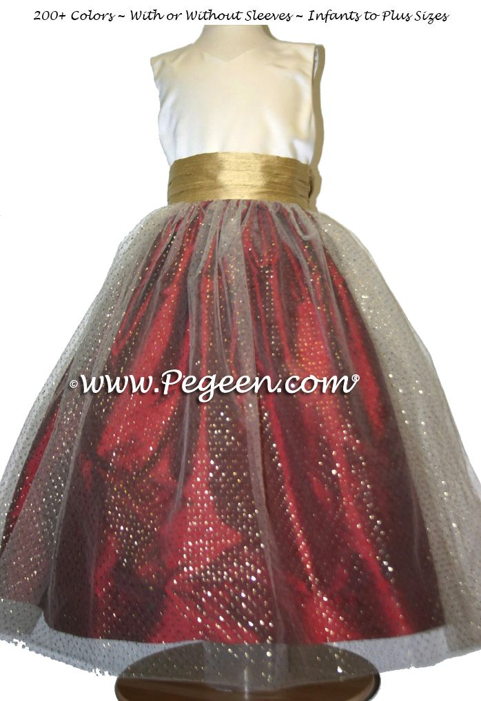 36aa72a250d CLARET RED (copper) and SPUN GOLD Brown tulle junior bridesmaids dress