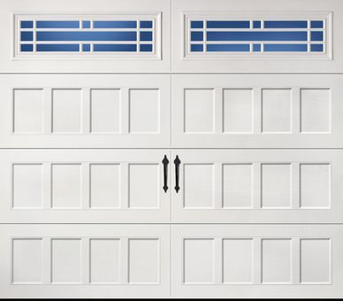 Amarr Garage Door Door Design: Recessed Windows: Long Panel Prairie Color:  True White Construction: Designeru0027s Choice 500 Decorative Hardware: Blue  Ridge ...