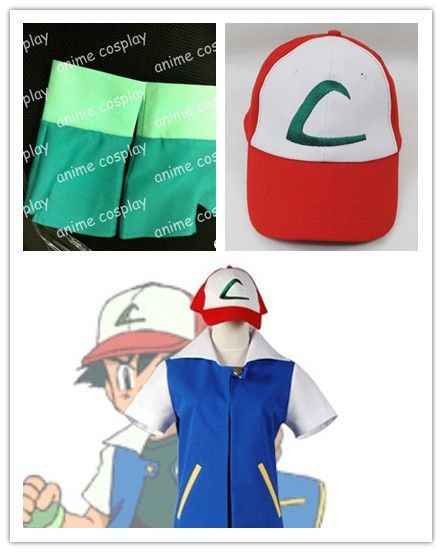 Anime Pokemon Ash Ketchum Trainer cap hat gloves coat jacket pokeball  costume 876a22c76dfb