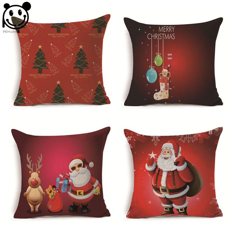 PEIYUAN Christmas Minions Wreaths Santa Claus Cotton Linen Woven Square Red Cushion Cover Pillowcase Pillow Covers #Affiliate