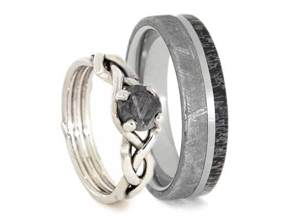 Nature Inspired Meteorite Wedding Ring Set Antler Band And Sterling Silver Engagement Natural Jewelry