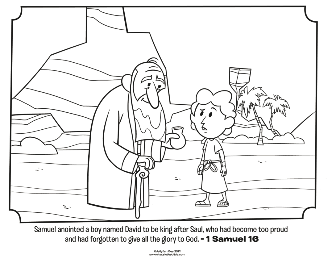 download this free coloring page of samuel anointing david to be the next king of israel in 1 samuel from whats in the bible