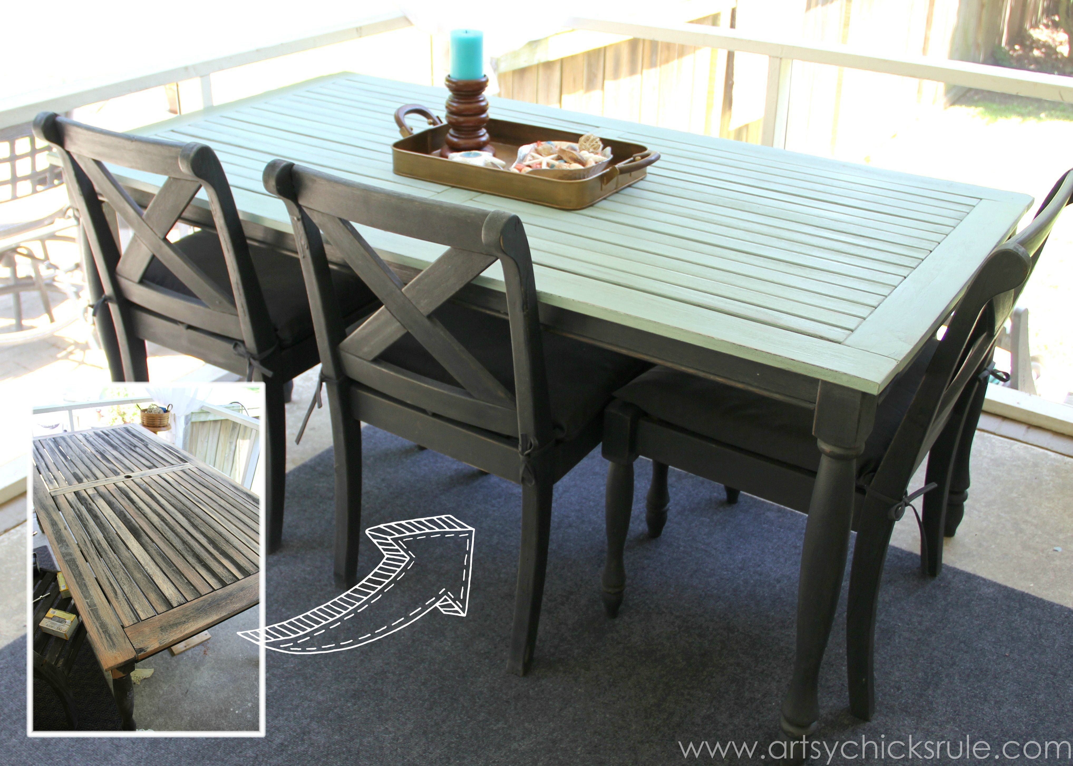 Chalk painted kitchen tables - Patio Table Re Do Bef Aft Duck Egg Blue Chalk Paint Kitchen Subway Tile Ideas