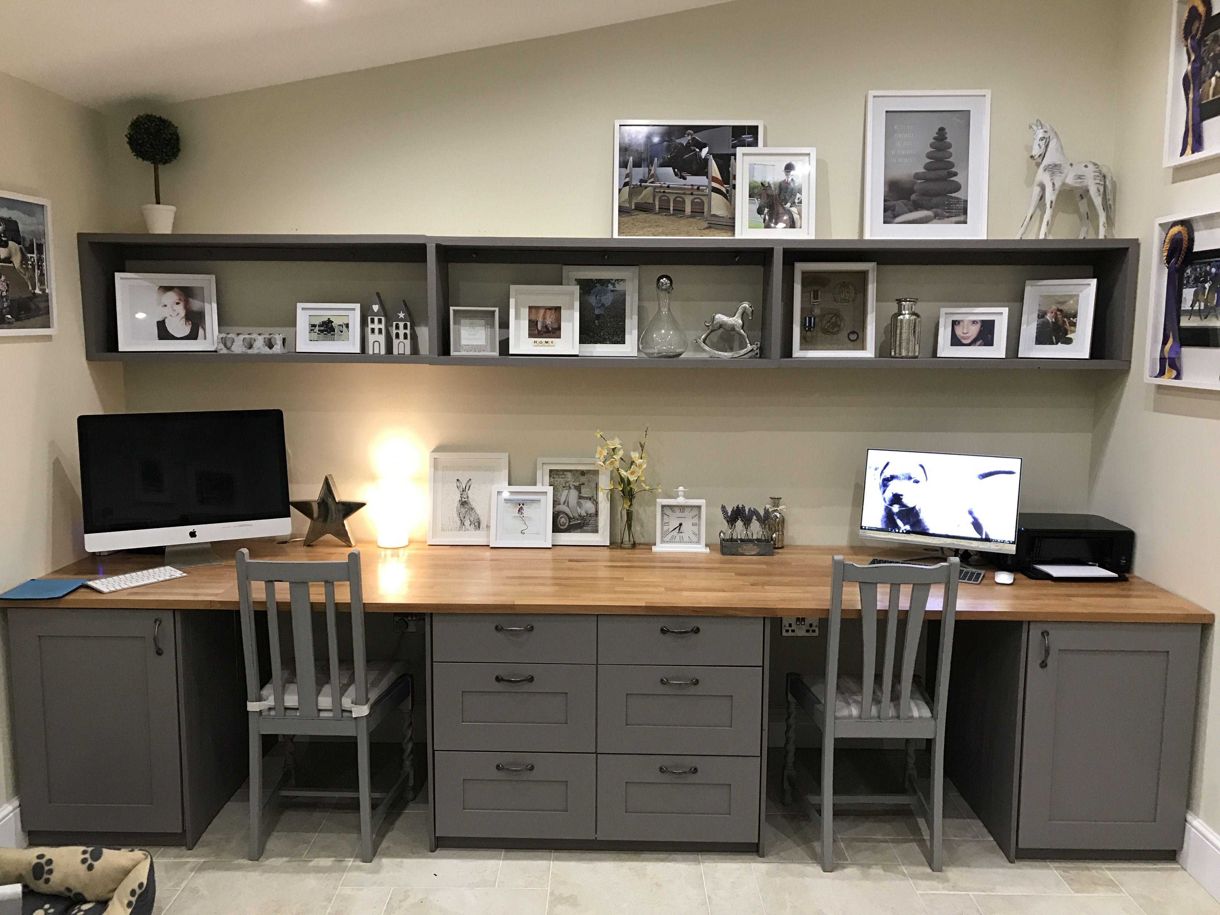 Beautiful double desk basement home office home office