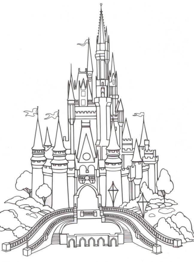 Sketch With Silhouette In 2019 Castle Coloring Page