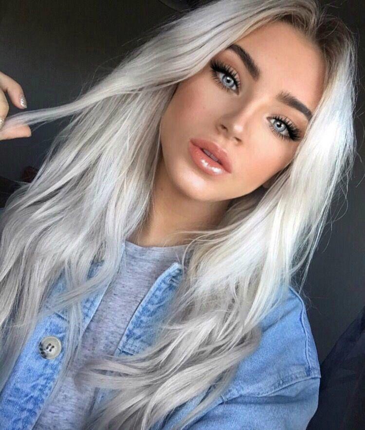 Ka La Kiss Hair Pale Skin Platinum Blonde Hair Silver