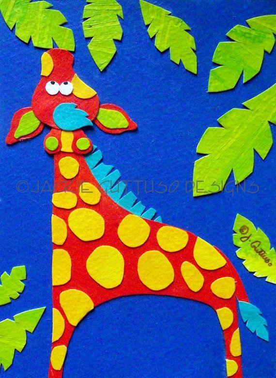 giraffe art original kids art jungle nursery art whimsical rh pinterest com