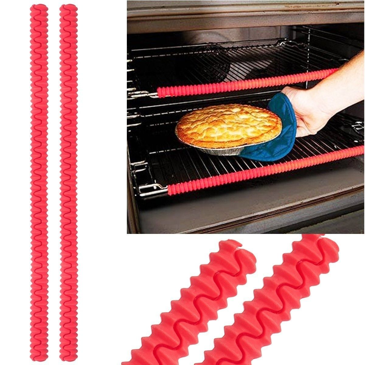 BPA Free FDA Approved Child Safety Toaster Edge Guard Shields Prevent Burns and Scars when Baking or Broiling SET OF 3 Oven Rack Protectors Heat Resistant Silicone Oven Guards Dishwasher Safe