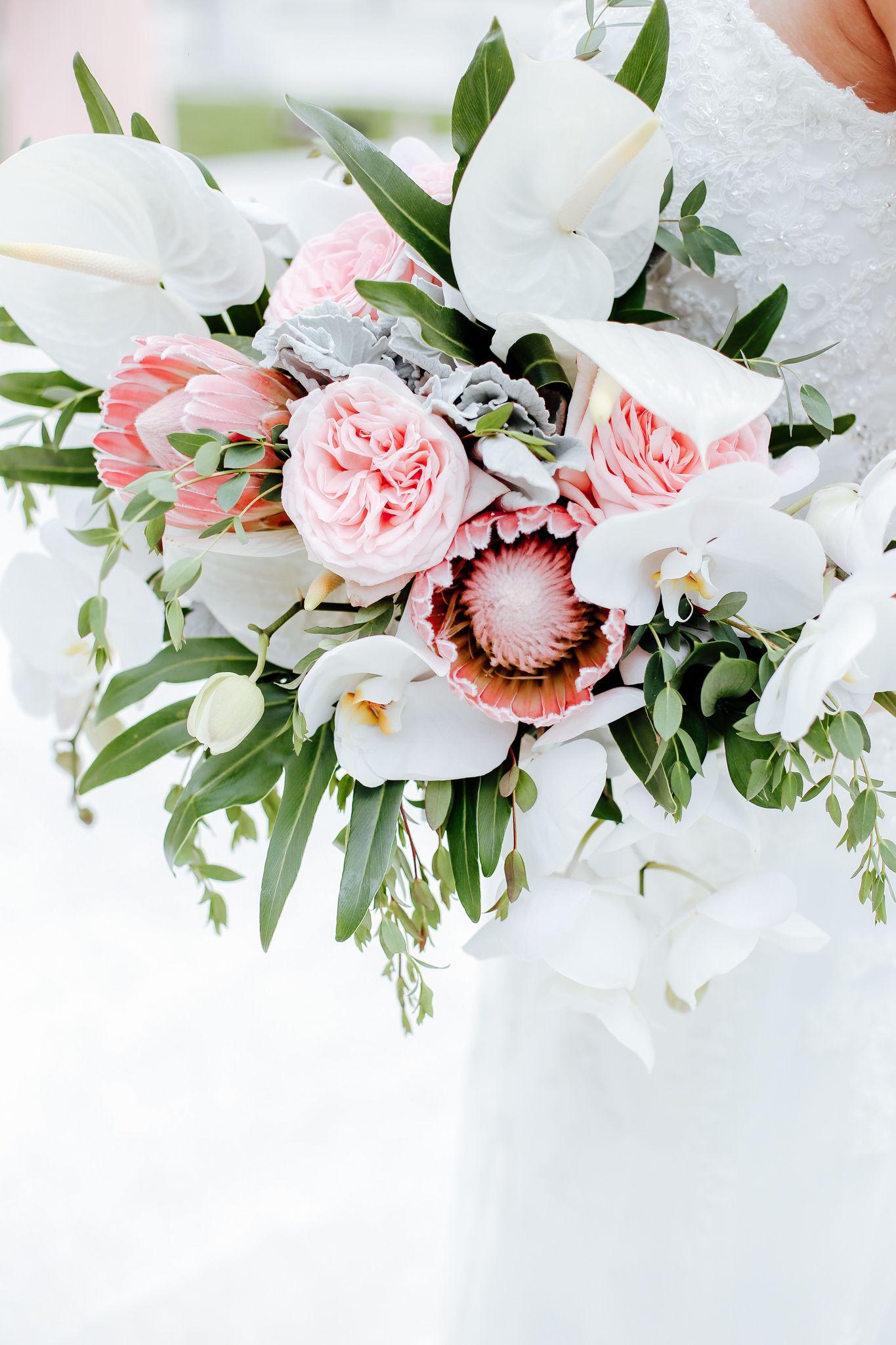 Tiffani & Ryan Tropical wedding bouquets, Mexico wedding
