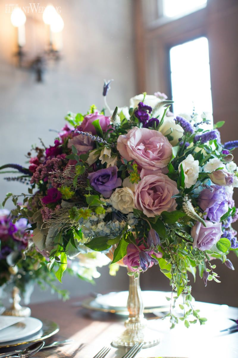 Purple Gold French Antiquity Wedding Theme Purple Flower