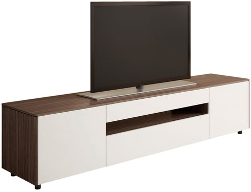 Australian designed entertainment unit from Australian Home Living.  Really interesting two tone design using Walnut veneer mixed with flat white fronts.