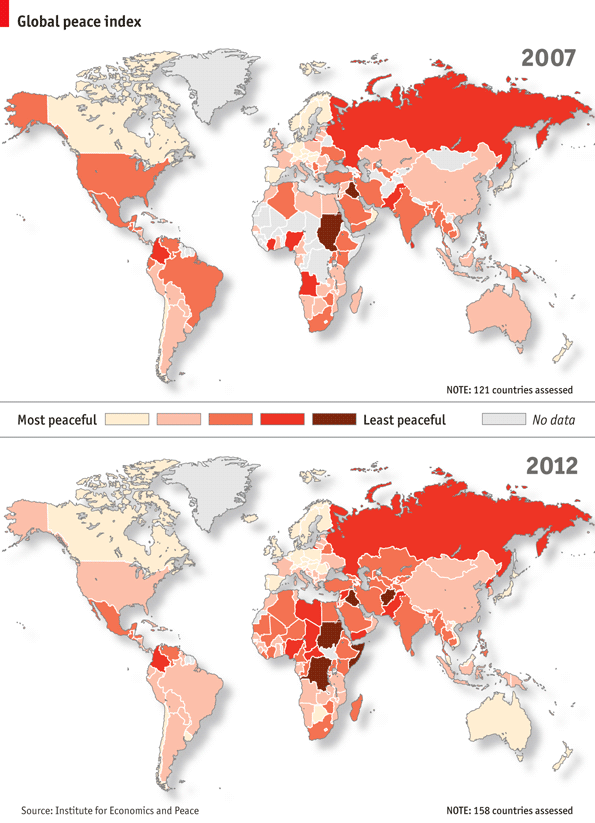Give peace a score Global peace index, World, Map