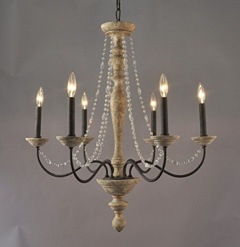 Jane French Country Rustic Crystal 6 Light Chandelier Elle B Http Www