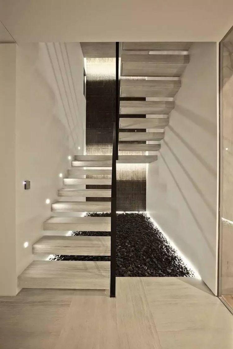 Led Treppenbeleuchtung Granitstufen Podesttreppe Schwarzer Ziersplitt Modern Stairs Moderne Treppen Schwebende Treppe Podesttreppe
