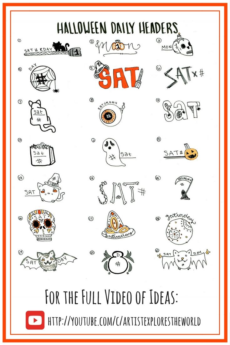 Halloween themed bullet journal ideas, daily header ideas, bullet journal inspiration, #halloweenbulletjournal