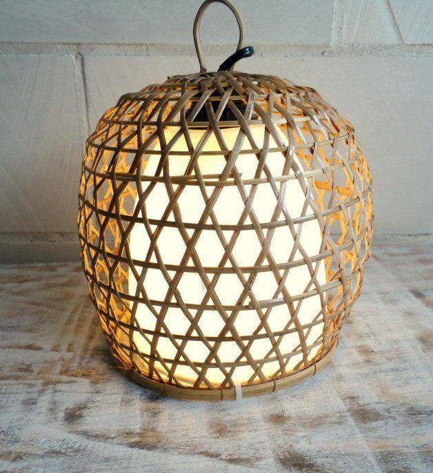 Tischlampen Bambusleuchte Bambuskorb Ambiente Hangeleuchte