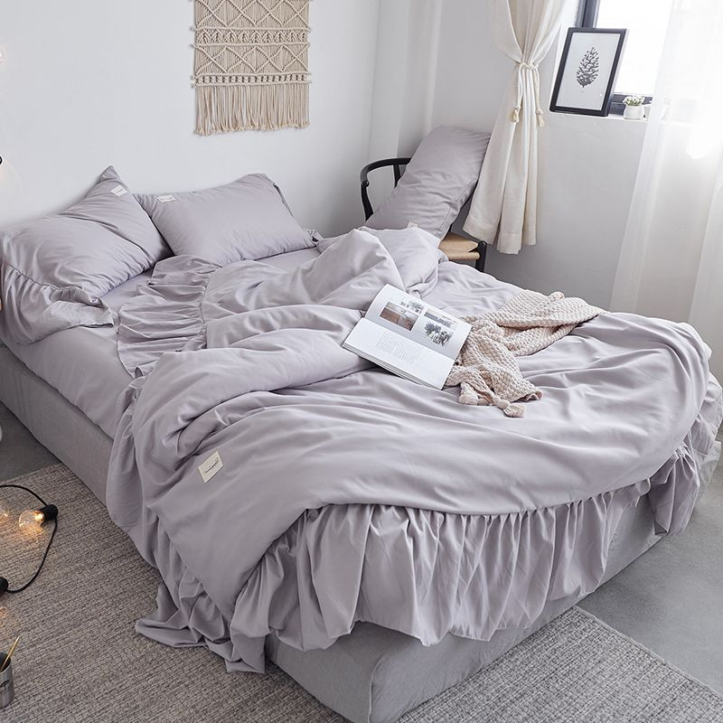2018 Bedding Set Chinese Bed Covers Grey Bed Sheet Duvet Cover With Ruffles Flat Sheet 4pcs Bedding Set Fitted Sheet Duvet Grey Bedding Bed Sheets Bedding Set