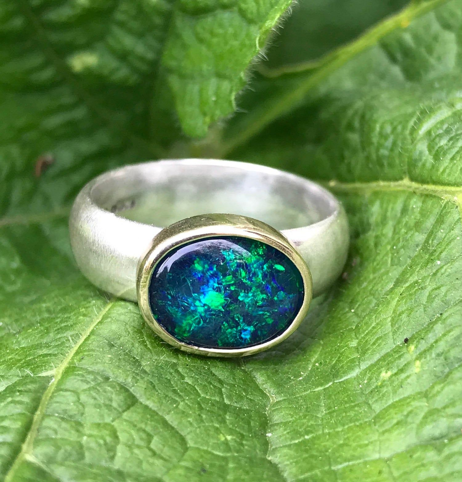 Dark blue and green opal UK shop gold and silver ring large opal ring