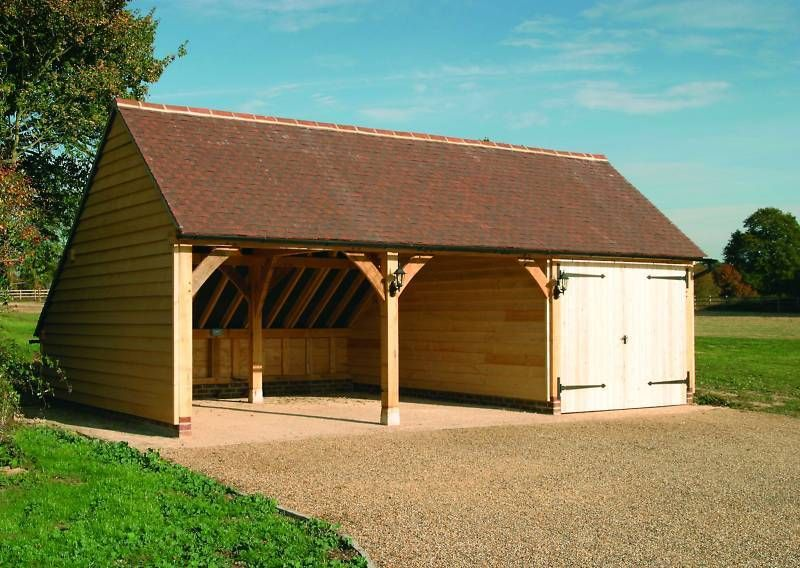 CH3G Traditional Oak Frame Garage Building Cart Lodge Self Assembly Chippy Kit