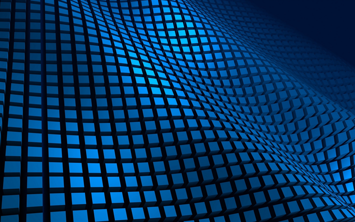 Download Wallpapers Blue Waves 3d Art Creative 3d Grid Cubes Abstract Waves Besthqwallpapers Com Abstract Wallpaper 3d Desktop Wallpaper Wallpaper