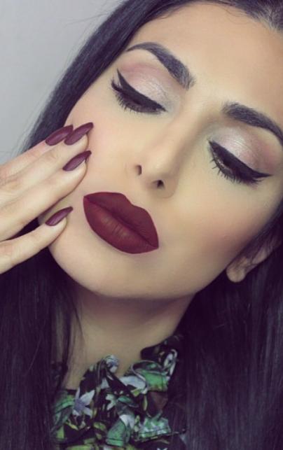 maroon matte lipstick and matte nail polish Makeup