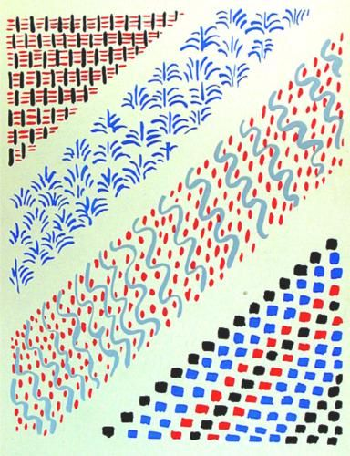 Fabric pattern by Sonia Delaunay, c 1930, Composition 27. (Orphism)