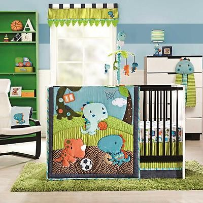 Blue And Green Animal Themed Dinosaurs Infant Baby Boy 4pc Nursery Bedding Set