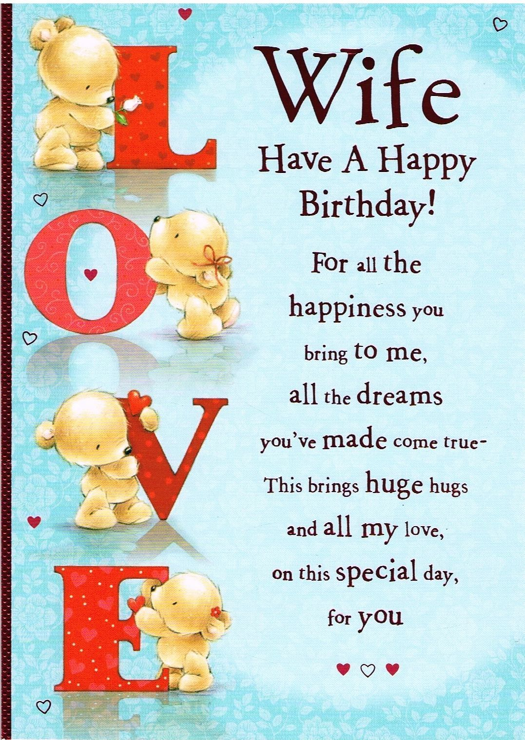 Wife Birthday Card Cute Card Loving Message Jpg 1077 1519