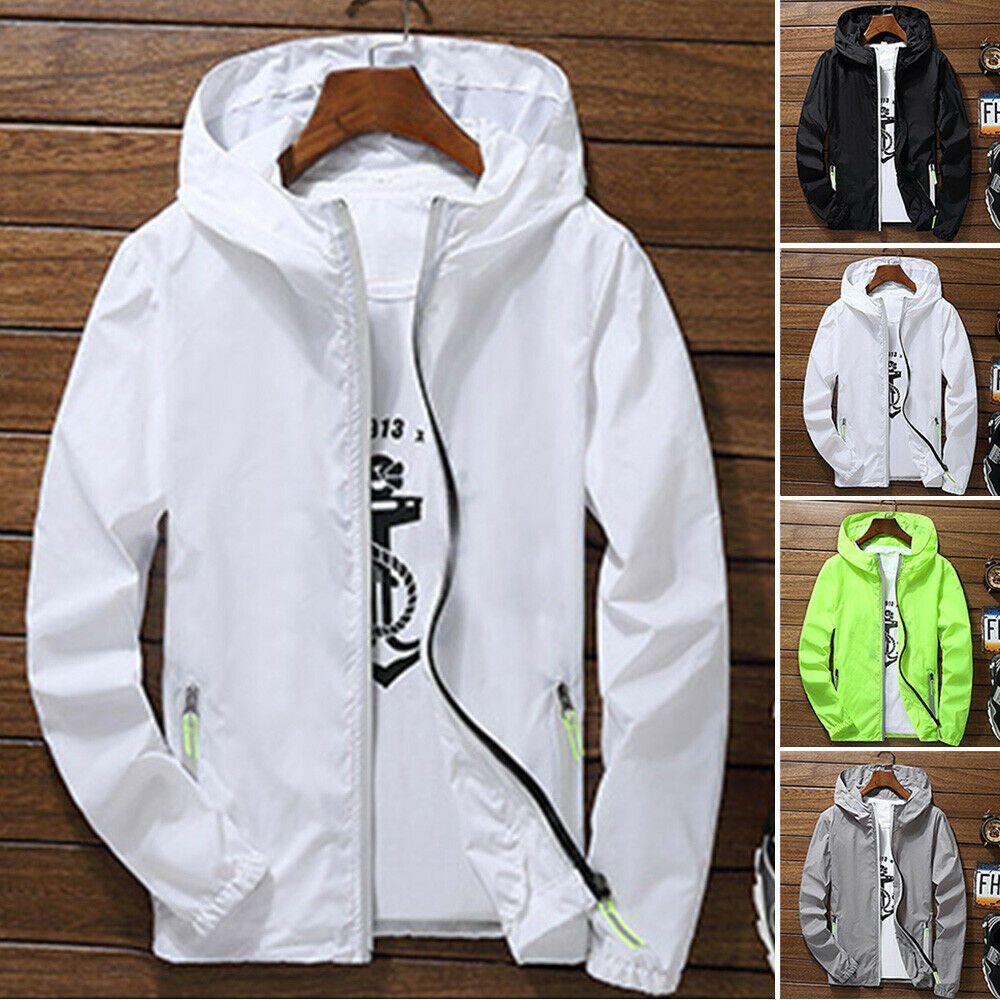 Men Women Unisex Waterproof Hooded Windbreaker Lightweight Zip Up Coat Outwear