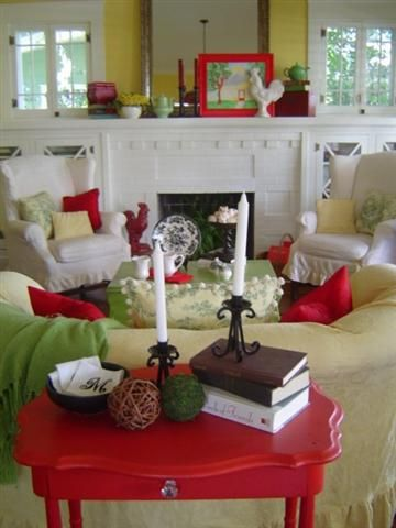 Dear daisy 39 s colorful cottage living room white green - Red and yellow living room decorating ideas ...