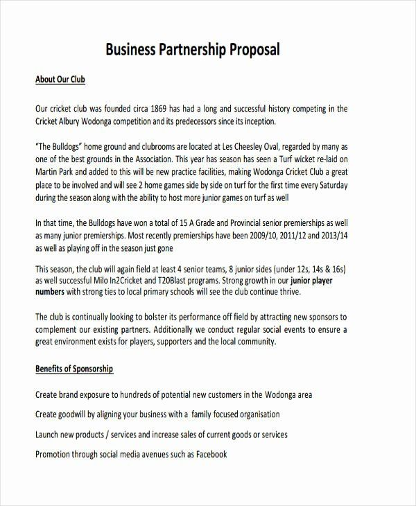 Business Partnership Proposal Sample Best Of Free 6