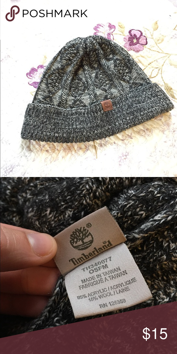 d24b5f819d3fa Timberland Grey Cable Knit Beanie Salt and pepper-colored beanie with  cable-n it design. Never worn! Stretch fit with timberland logo tag on brim.