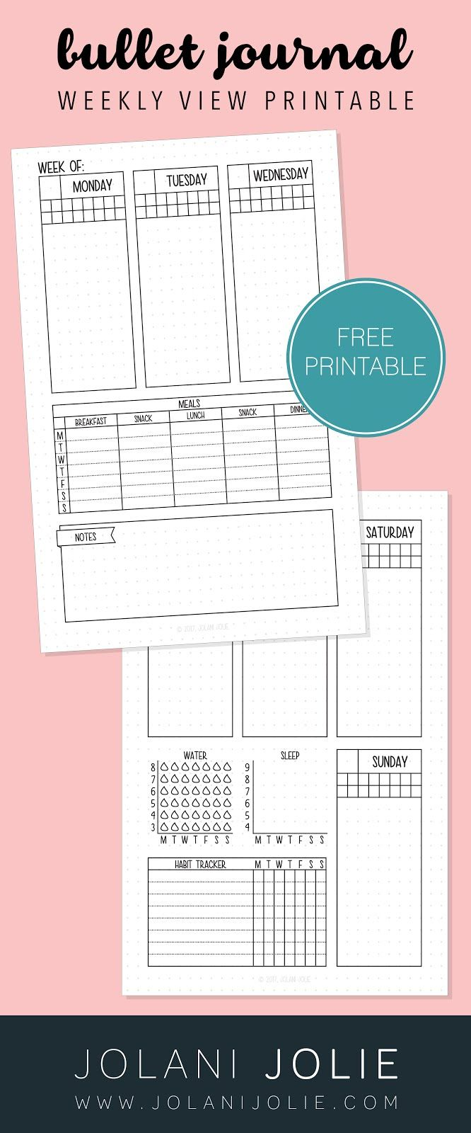Free Printable: Weekly Bullet Journal Overview with Sleep, Water ...