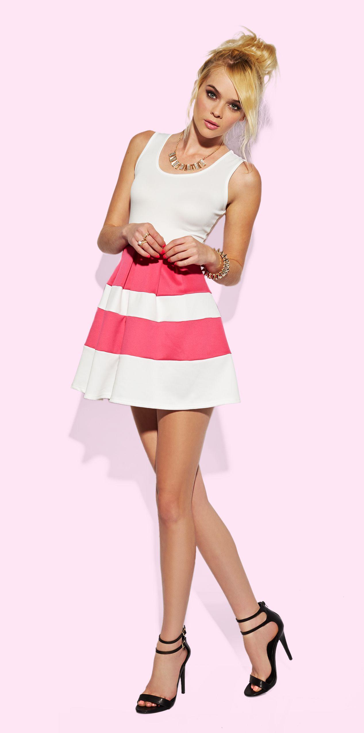 Back Cut-Out Color Block Skater Dress | Charlotte Russe ...