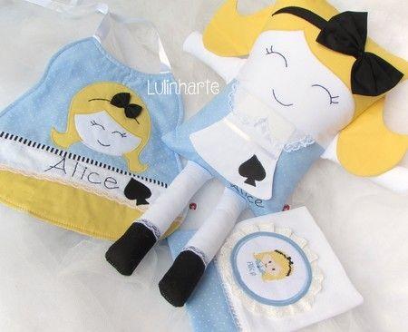 Kit Alice No Pais Das Maravilhas Lulinharte Bonecas Artesanais