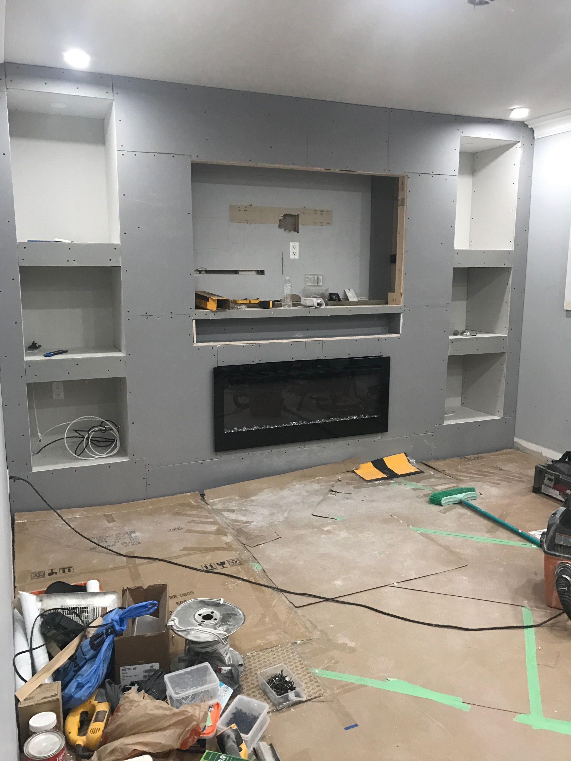 Placing Playbar In A Recessed Wall Shelf Fireplace Tv Wall Living Room Tv Wall Tv Wall Shelves